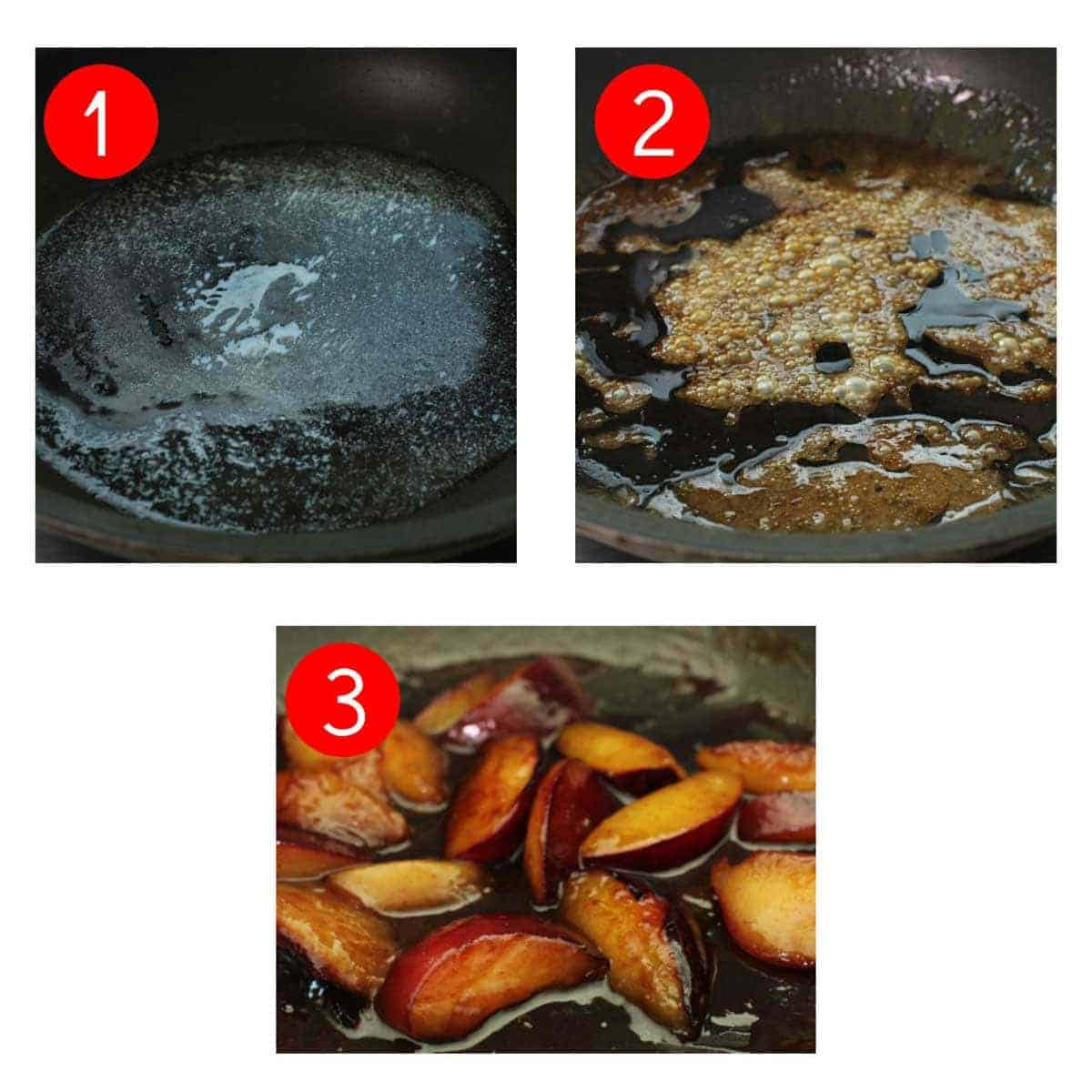 three photos showing how to make caramelized plums in a skillet.