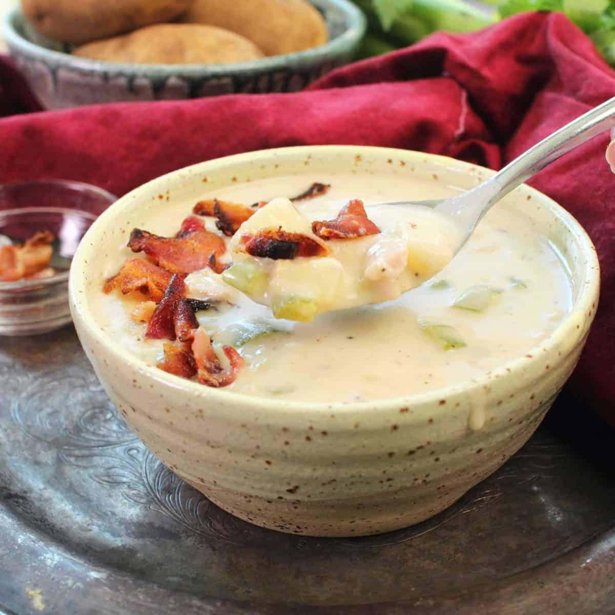 a spoonful of clam chowder filled with bacon and clams.