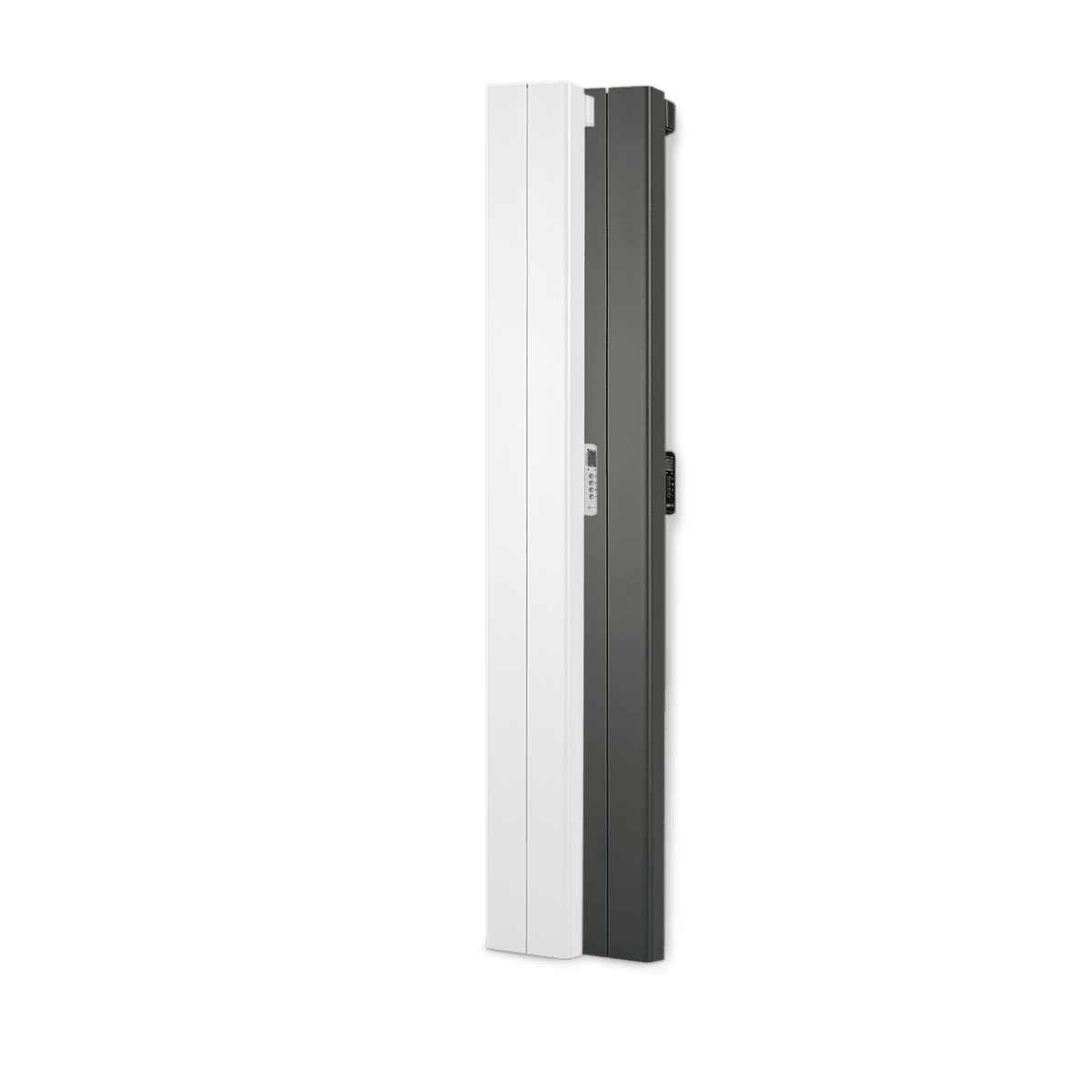 Rointe Palaos tall vertical radiators in white and black with 2 heating elements
