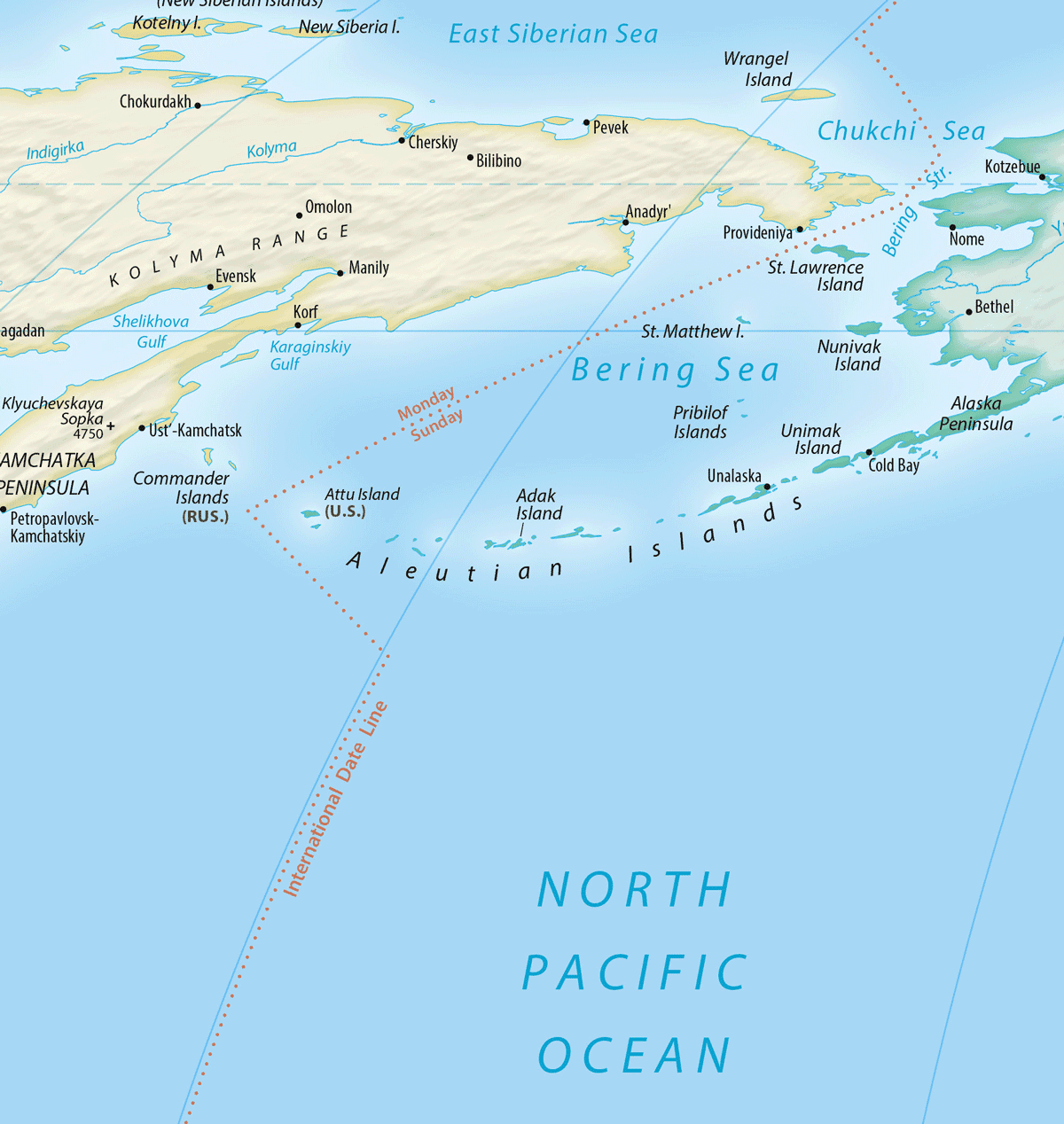 Map showing the location of the International Date Line around the Aleutian Islands in the North Pacific Ocean.  Map: Equal Earth, public domain.
