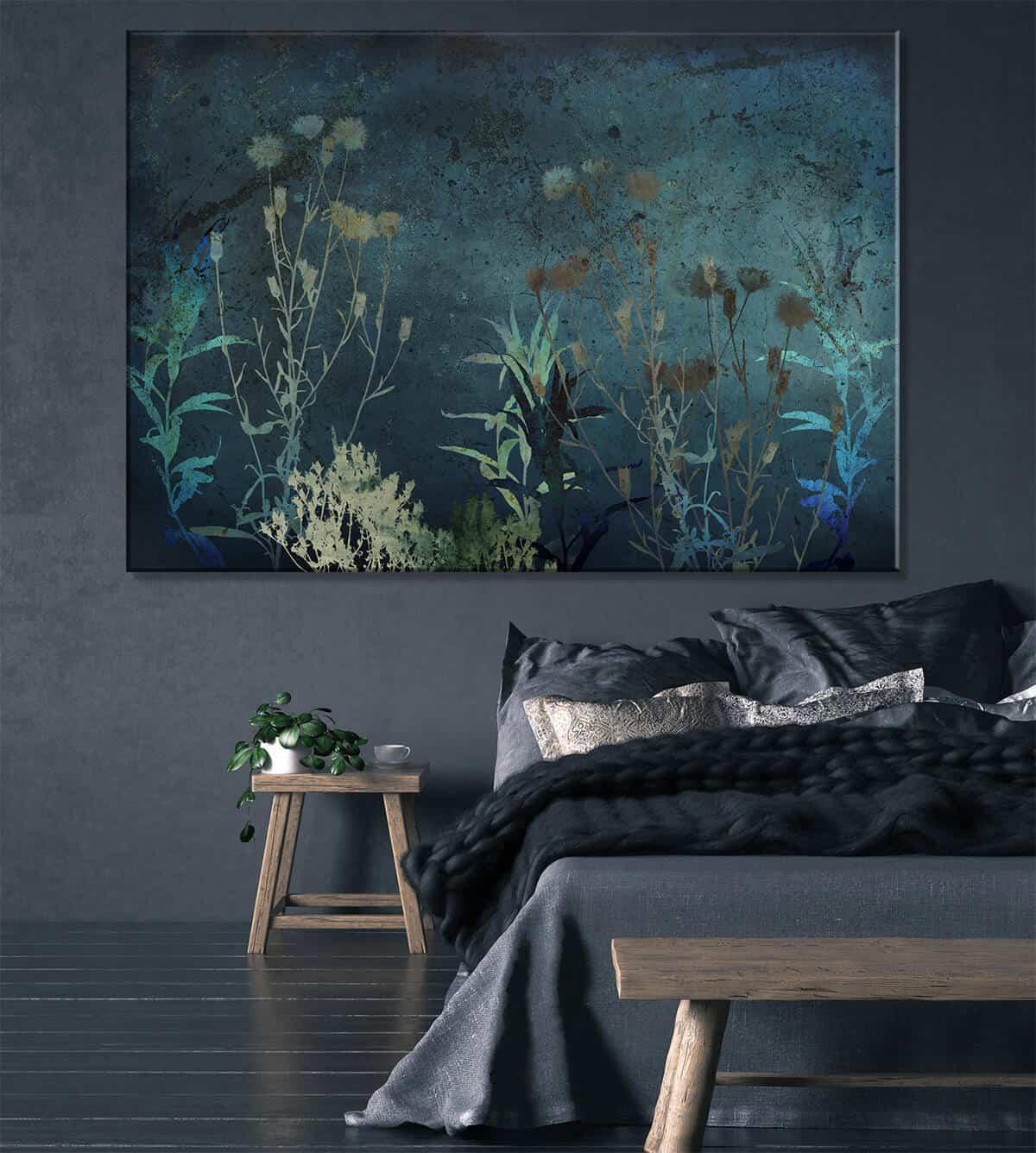 aranżacja sypialni obraz na ścianie z kwiatami i roślinami