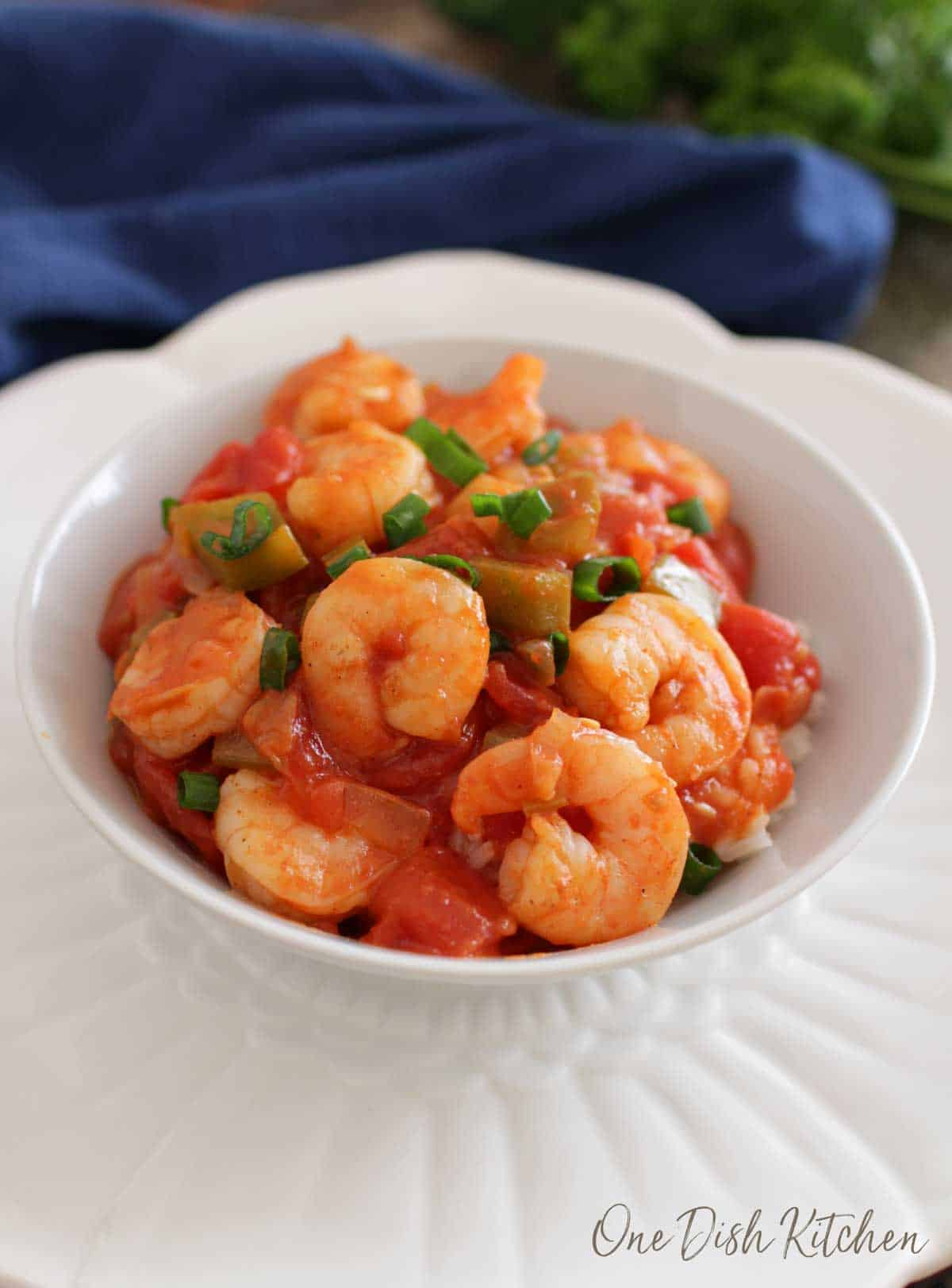 A bowl of shrimp creole over white rice