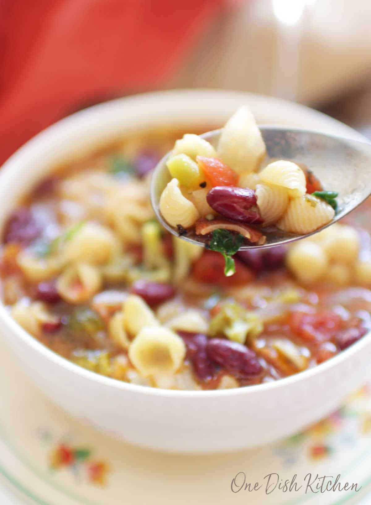 A spoonful of minestrone soup filled with noodles, beans, carrots, and other vegetables
