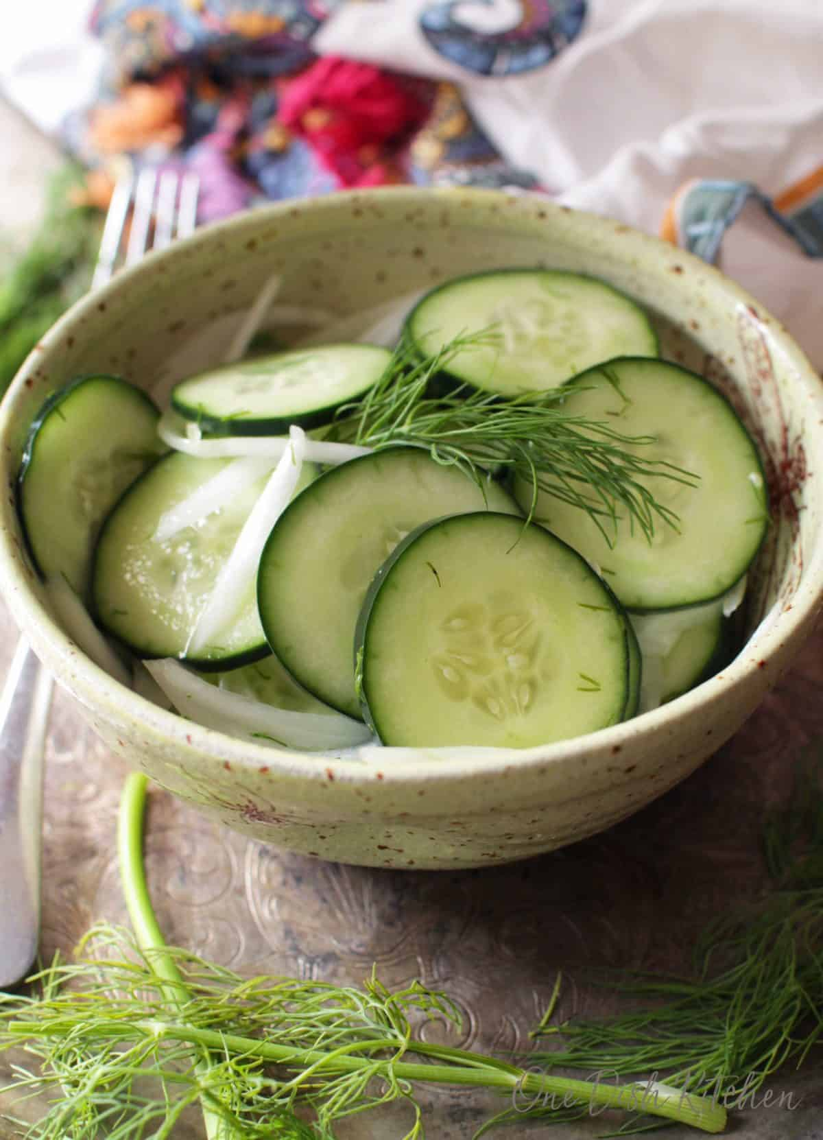 Sliced cucumbers and onions topped with fresh dill in a small bowl