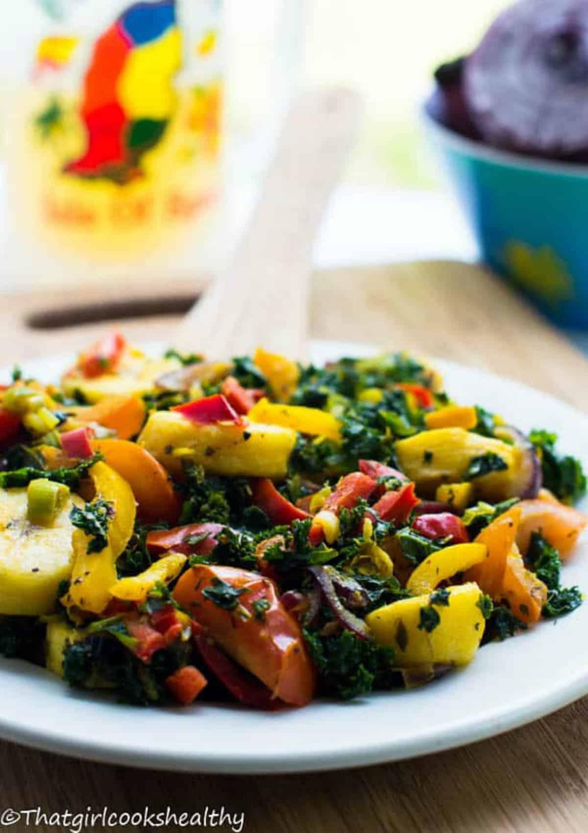 Vegetables with drink behind