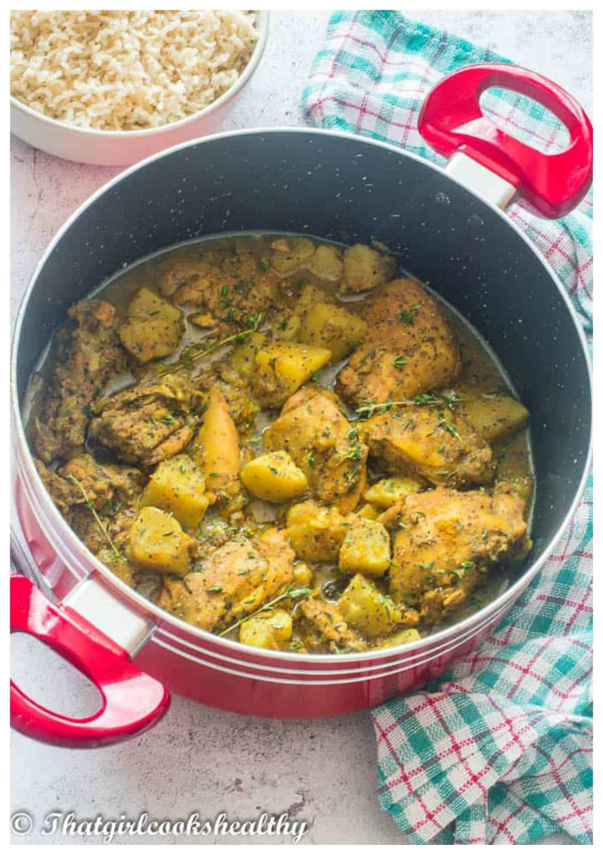 curried chicken in a big pot