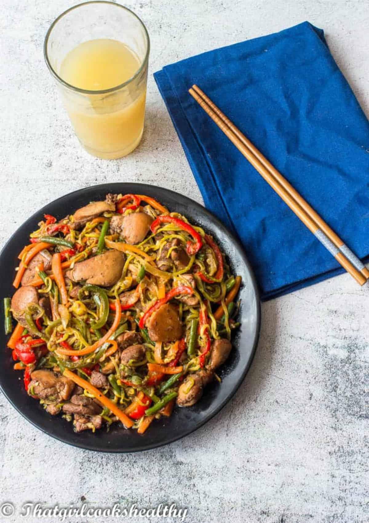 chow mein with chop sticks