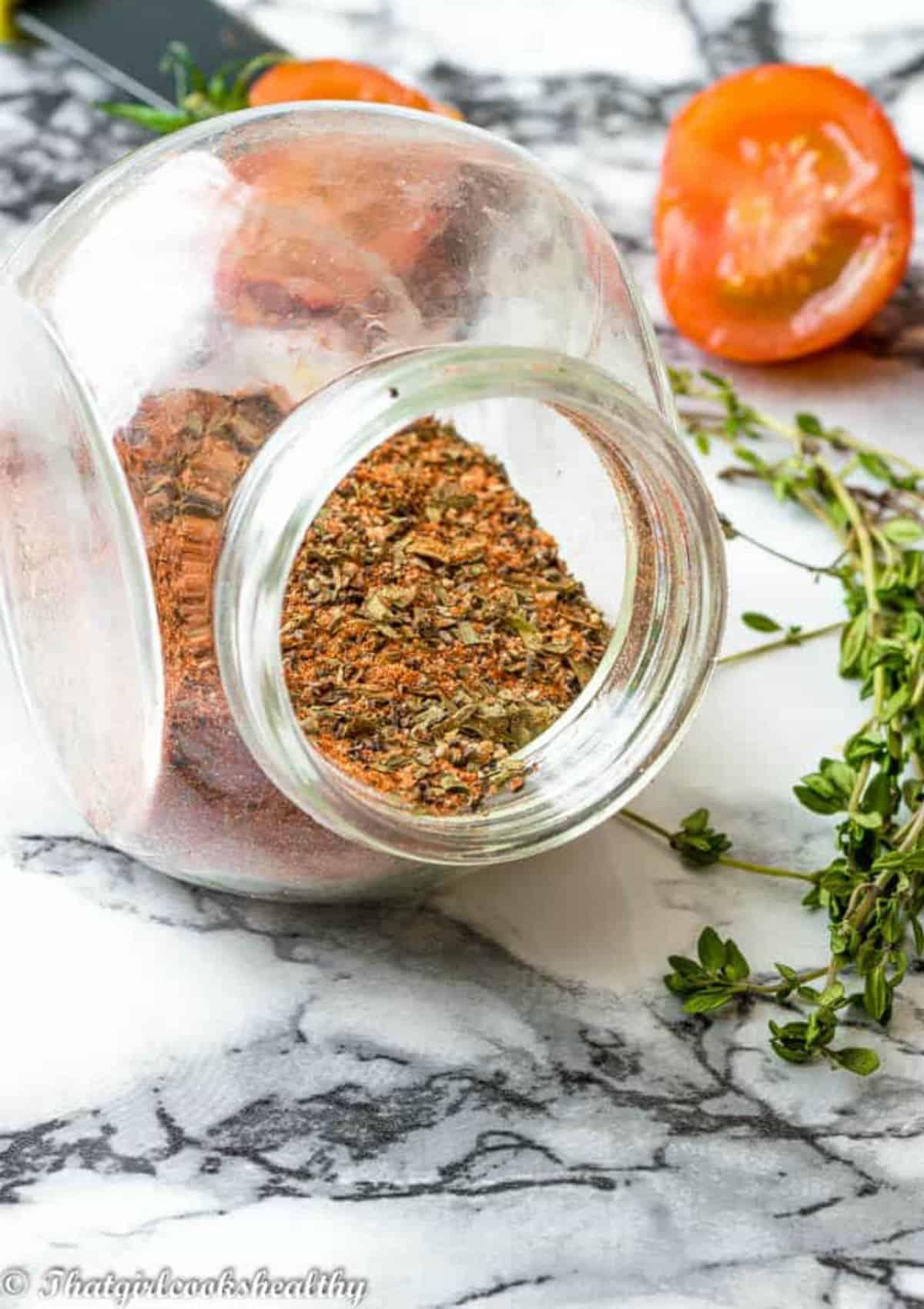 seasoning in an open jar