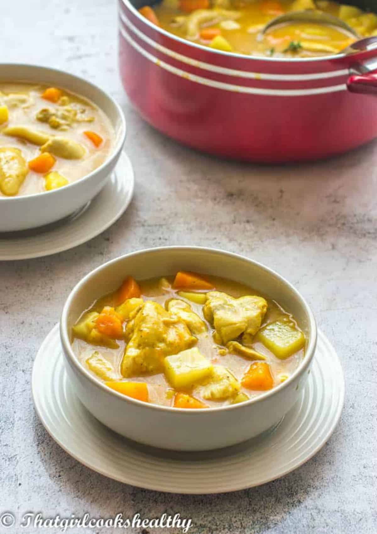 Single bowl of soup
