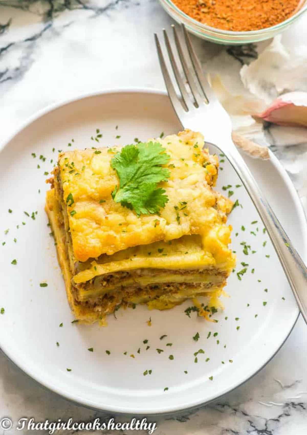 lasagna and fork
