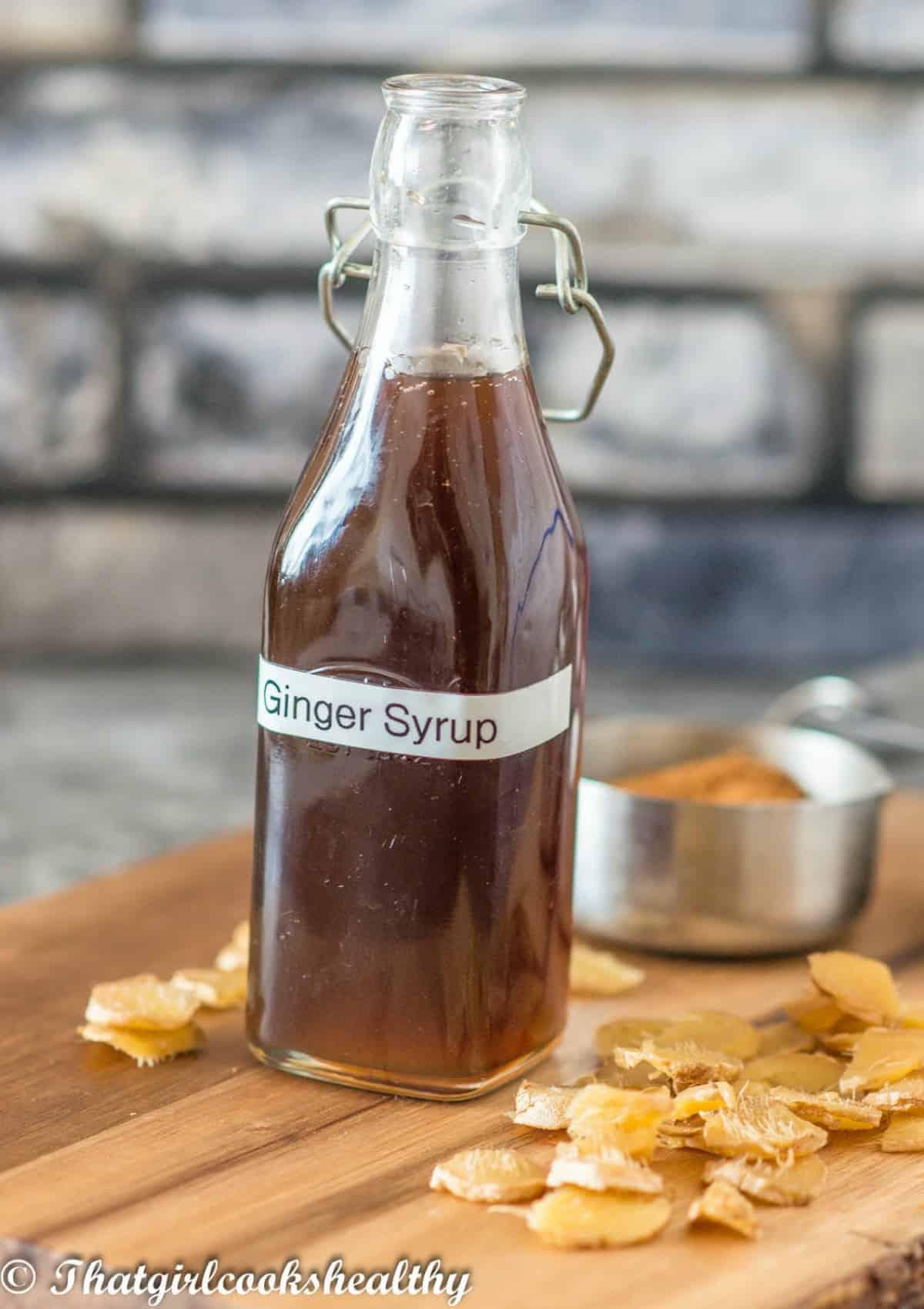 labelled bottle of ginger syrup