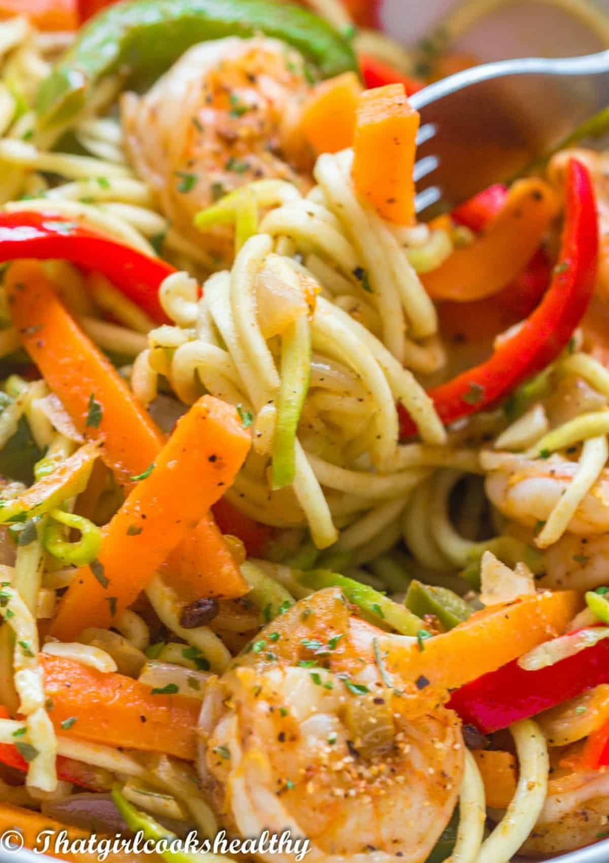 Close up of the zoodles