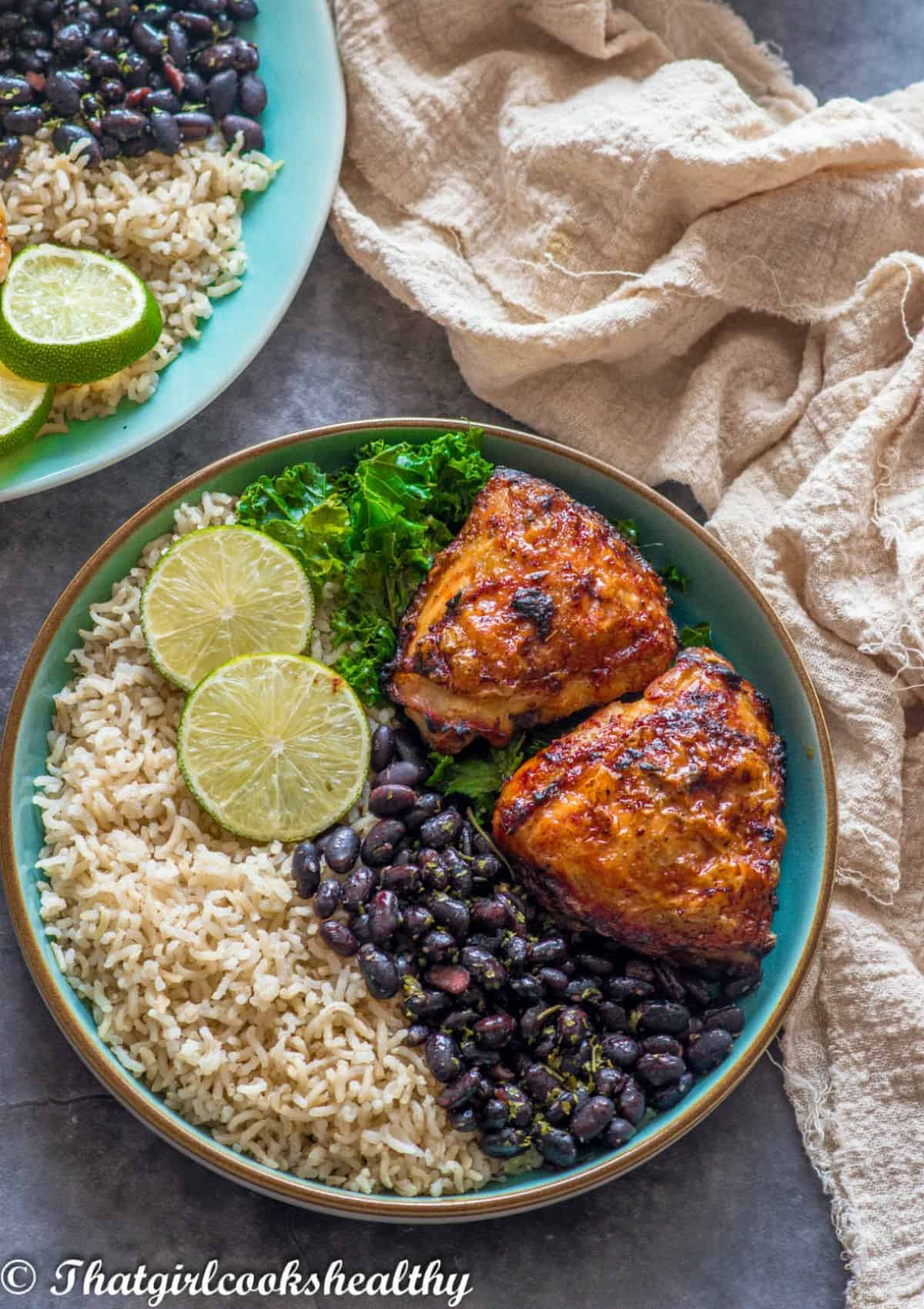 chicken thighs, rice, beans and veggies