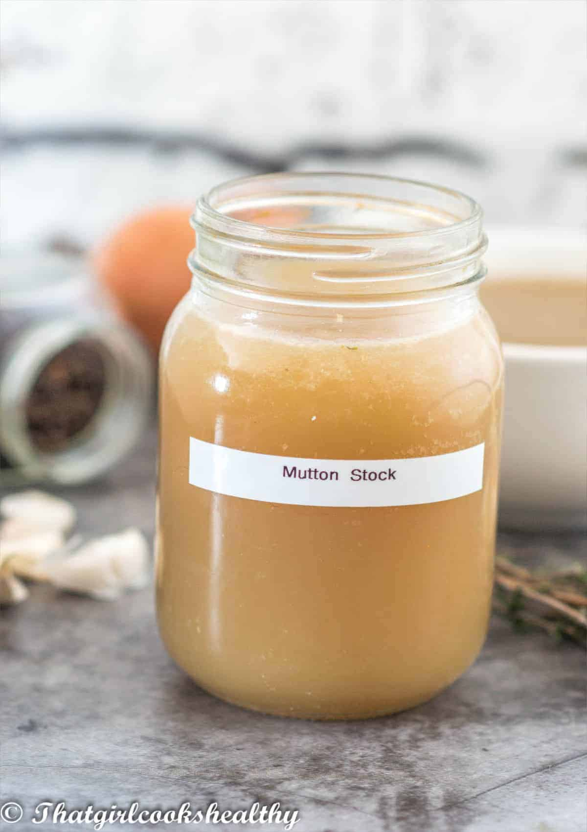 stock in a glass jar