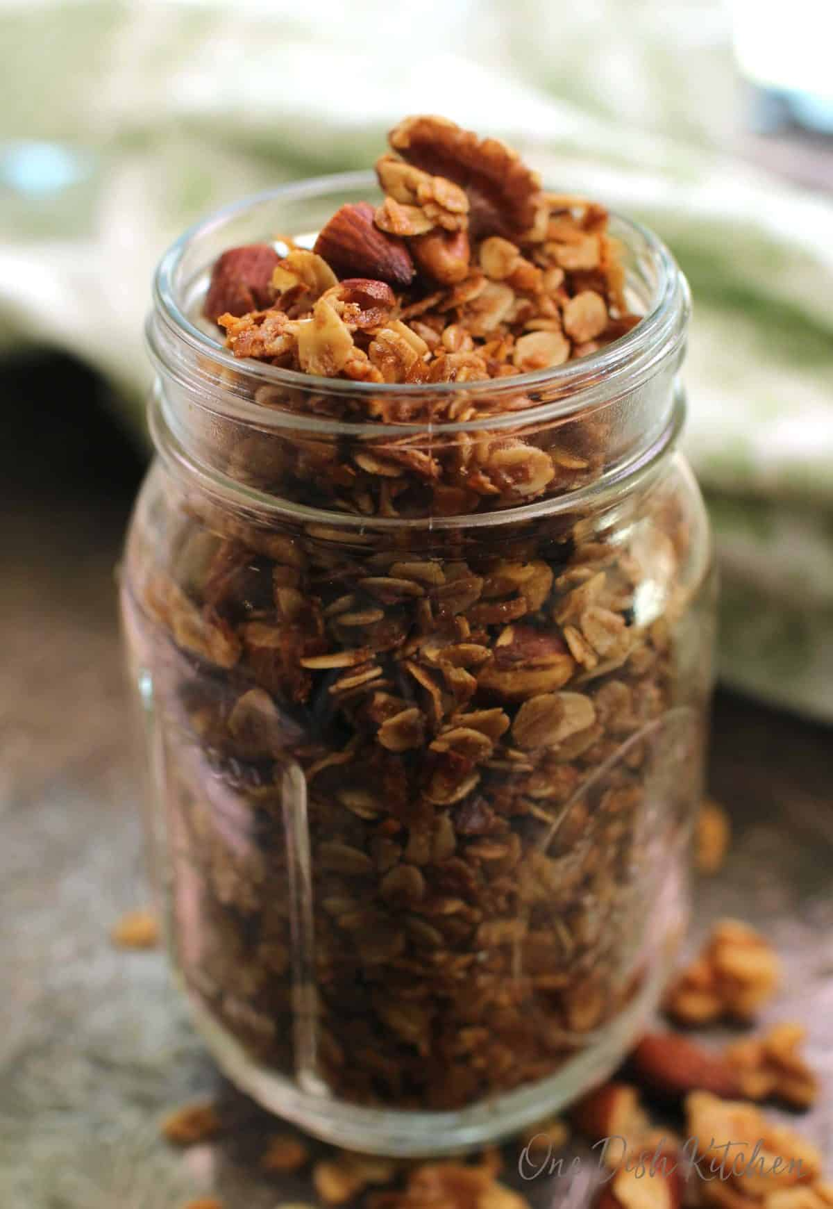 glass mason jar filled with granola