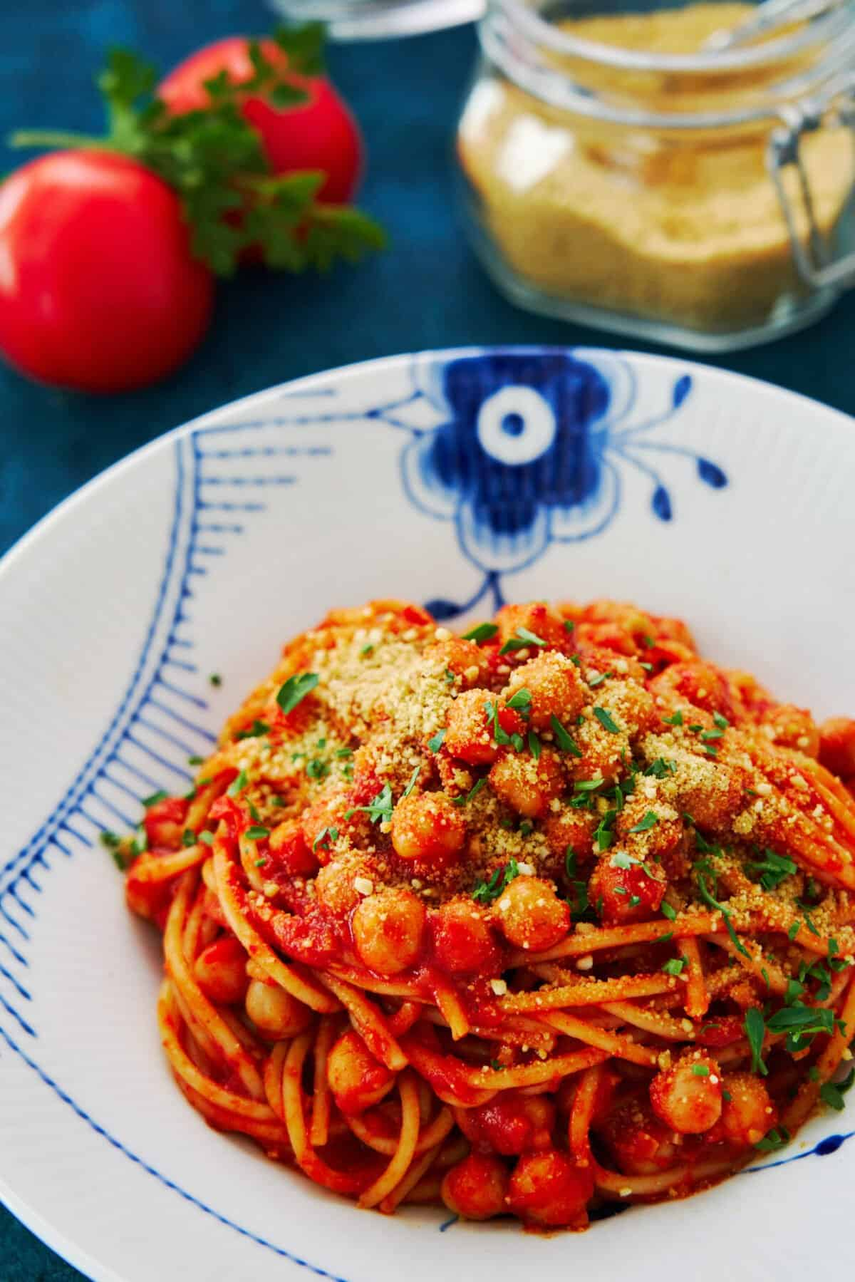 This spicy Chickpea Spaghetti recipe comes together in 10 minutes from a handful of pantry staples. The best part is that it's super versatile, so you can adapt it based on what you have.