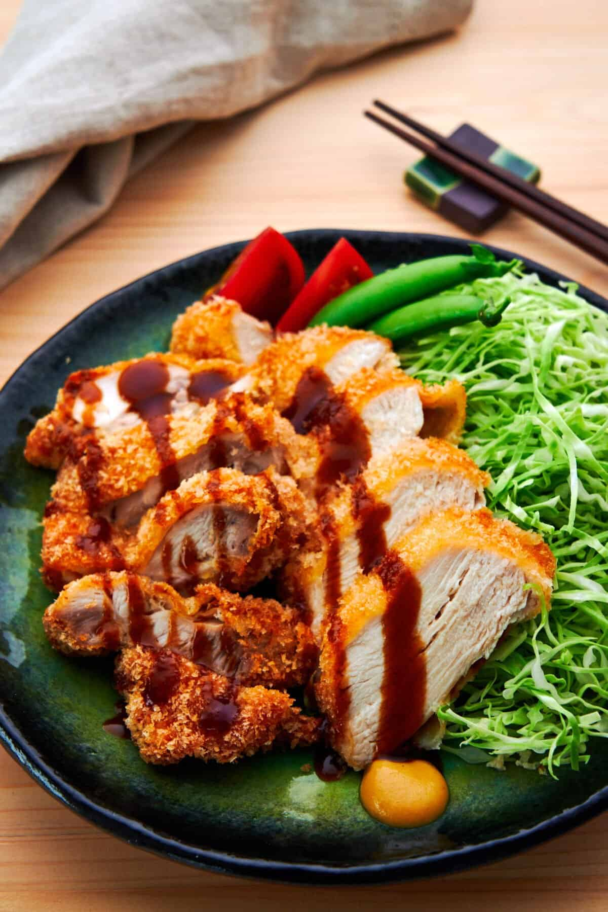 Breaded in panko, this mouthwatering Japanese Chicken Katsu is crispy on the outside and juicy on the inside.