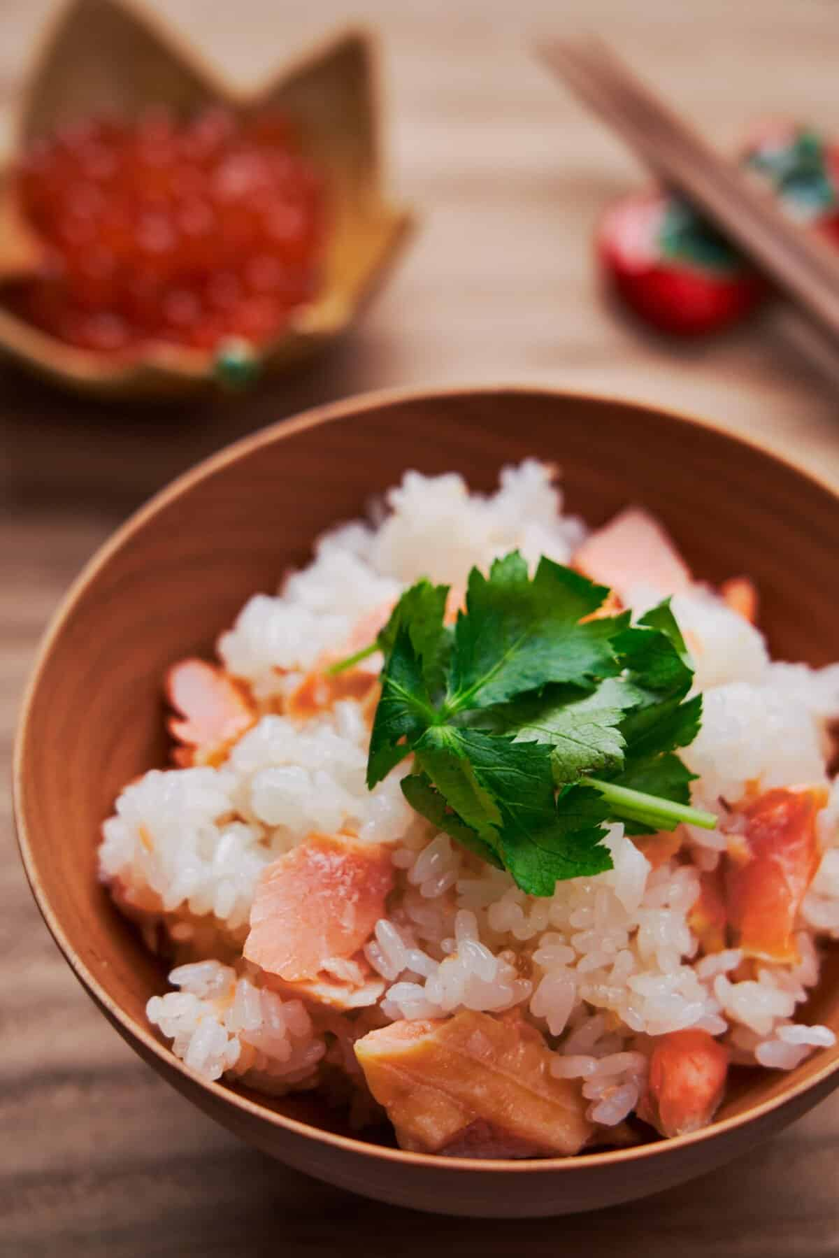 This easy one-pot salted salmon steamed with rice is a fall favorite in Japan.