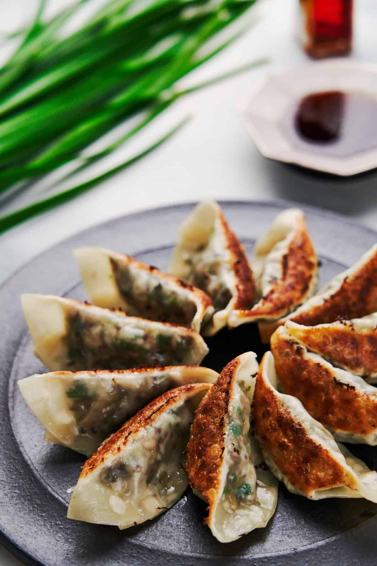 These vegetable gyoza dumplings are plant-based and yet they're umami bombs that'll make meat-eaters drool.