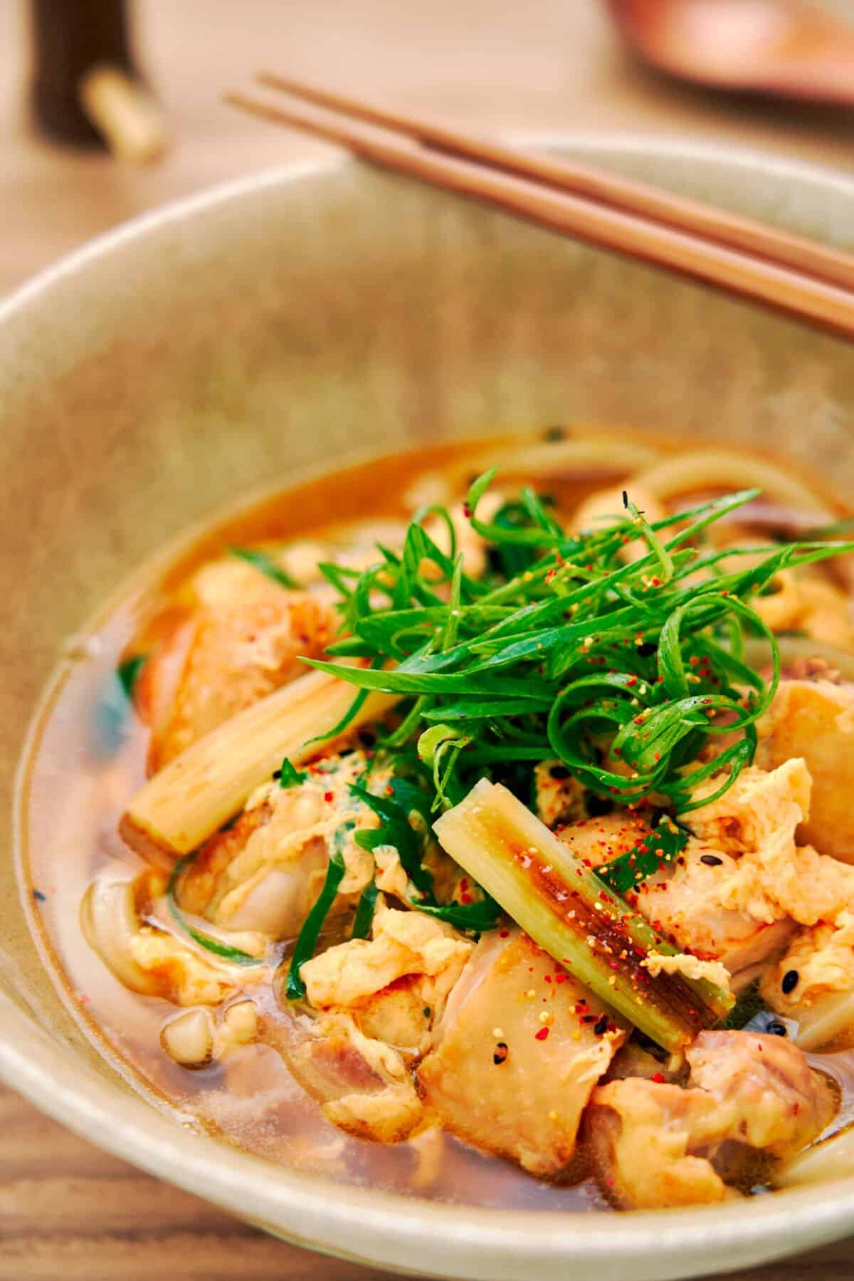With big chunks of juicy chicken and thick udon noodles in a savory Japanese chicken soup, this easy Chicken Udon recipe comes together in under 10 minutes.