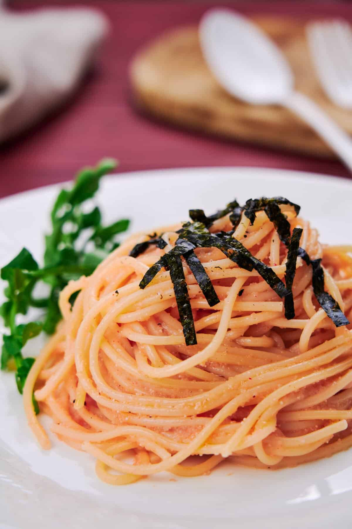 Japanese mentaiko pasta is a deliciously savory meal that comes together from a handful of ingredients in the time it takes to boil a pot of spaghetti.