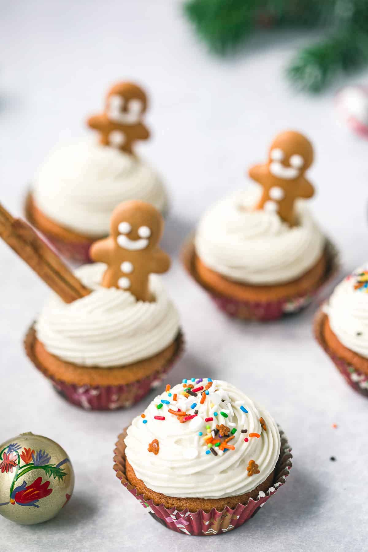 Christmas cupcakes on a white background.