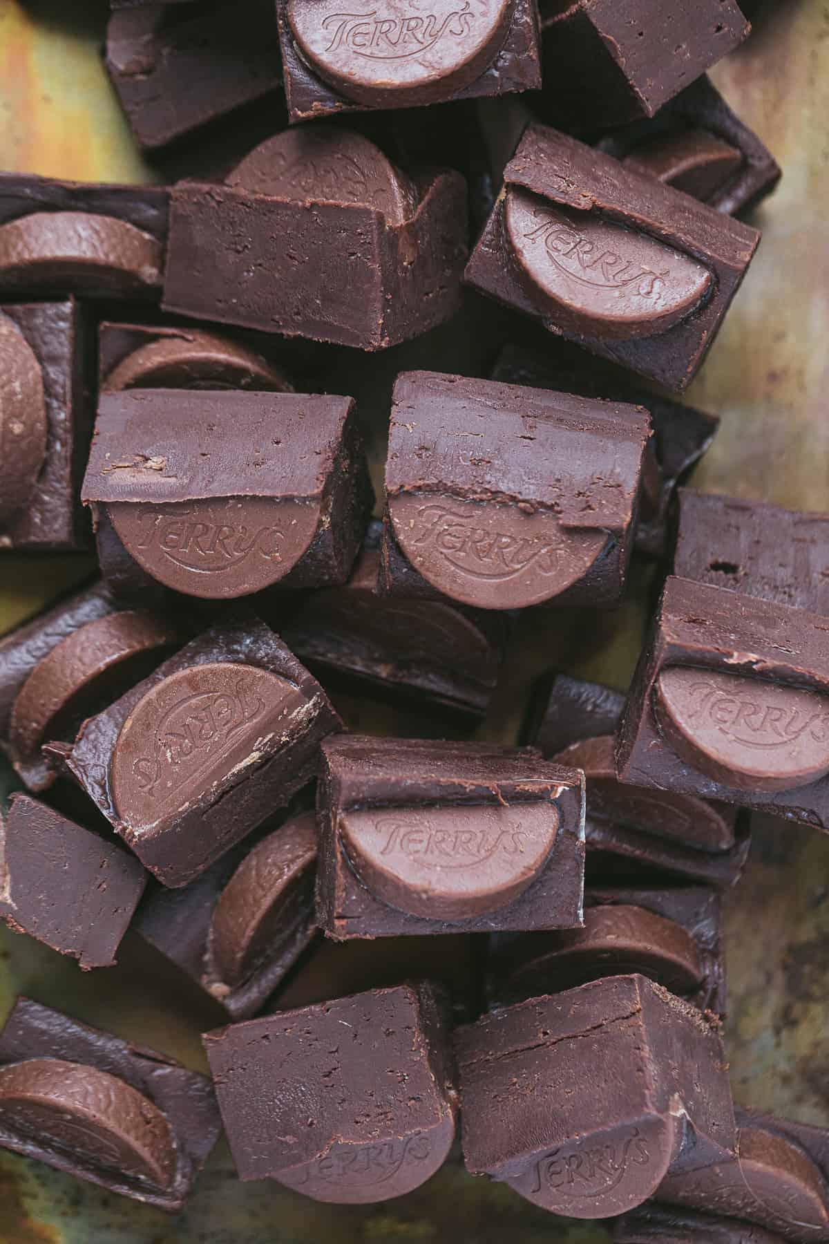 Rectangular pieces of Terry's choc orange fudge.