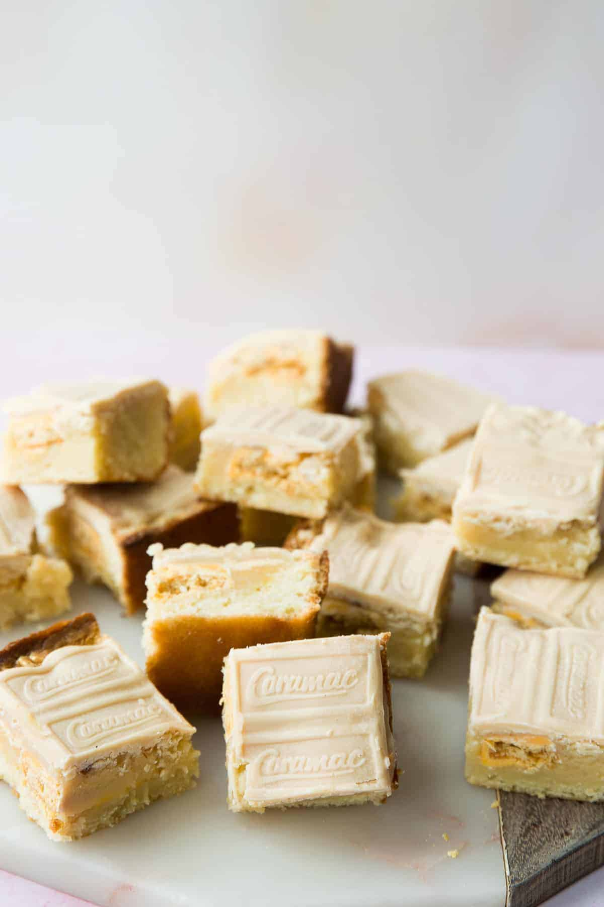 Fudgy white chocolate blondies topped with caramac bars.