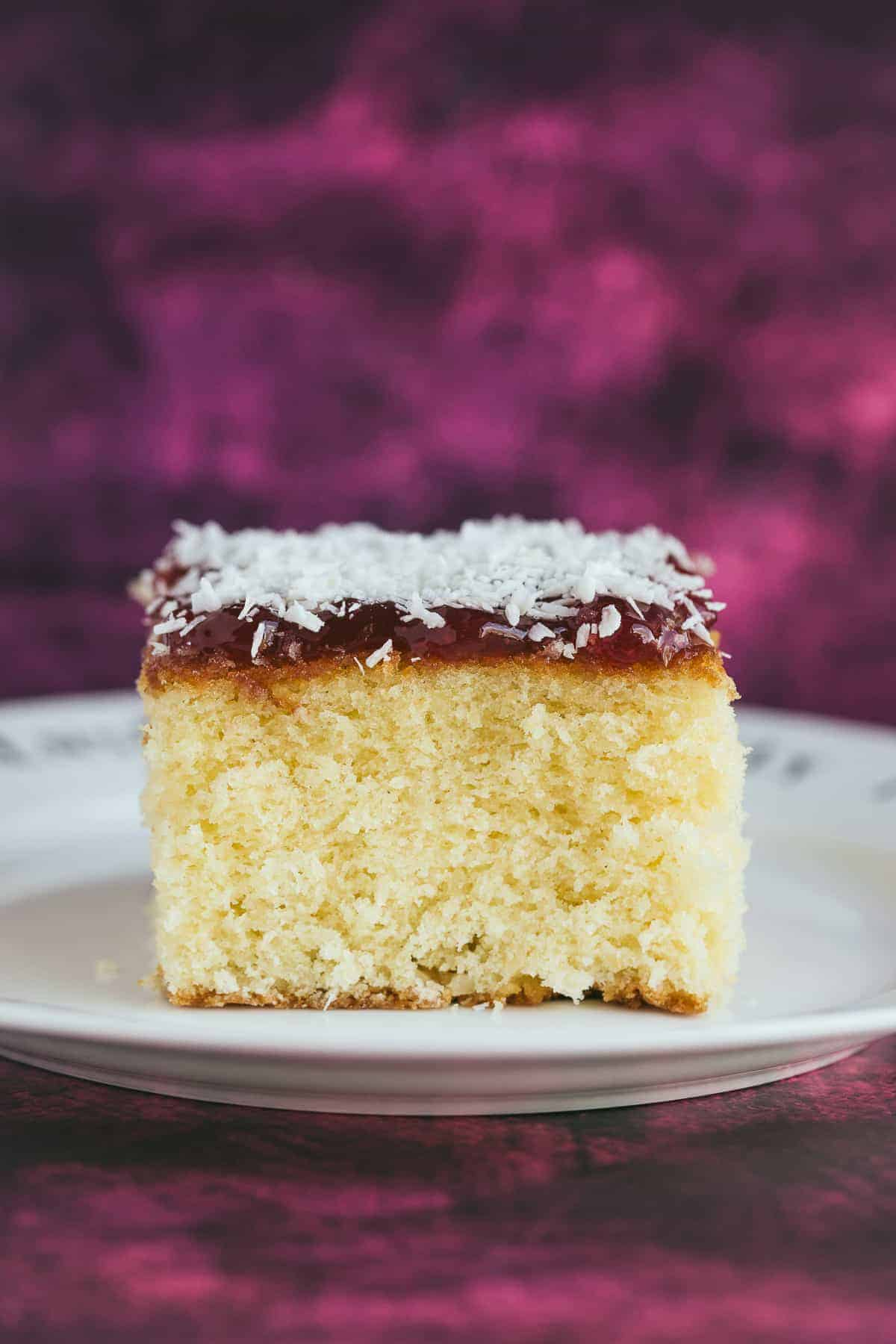 A slice of perfectly baked sponge cake.