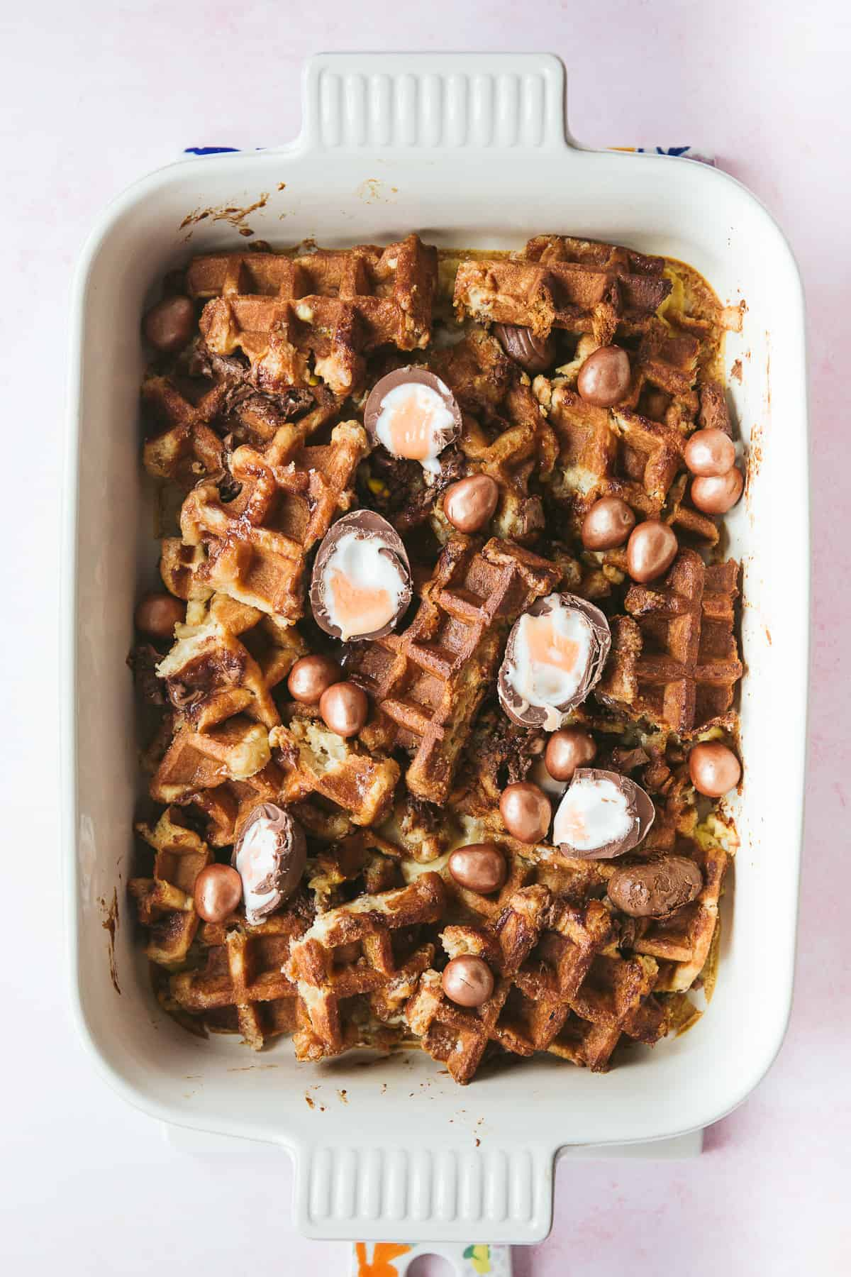 A casserole dish containing a baked Easter Breakfast.