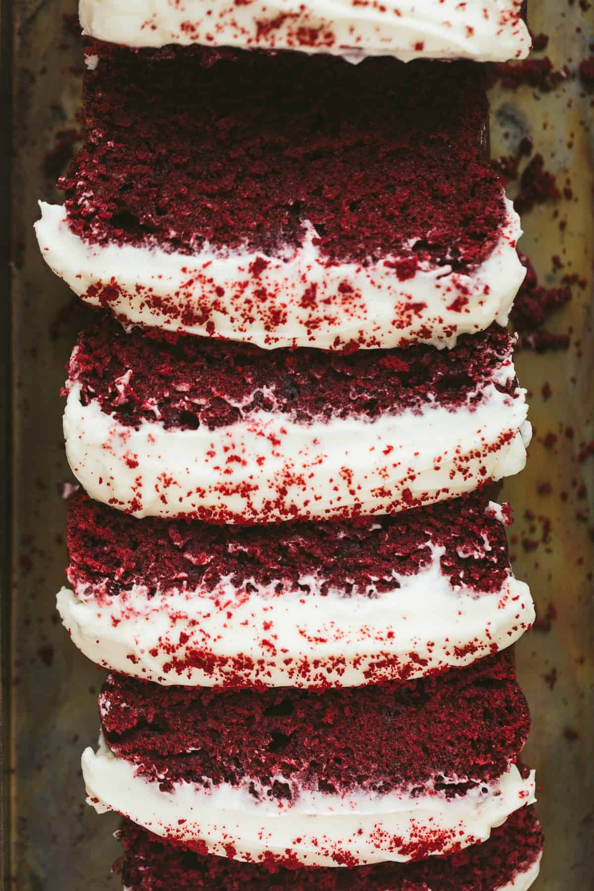 A sliced red velvet cake.