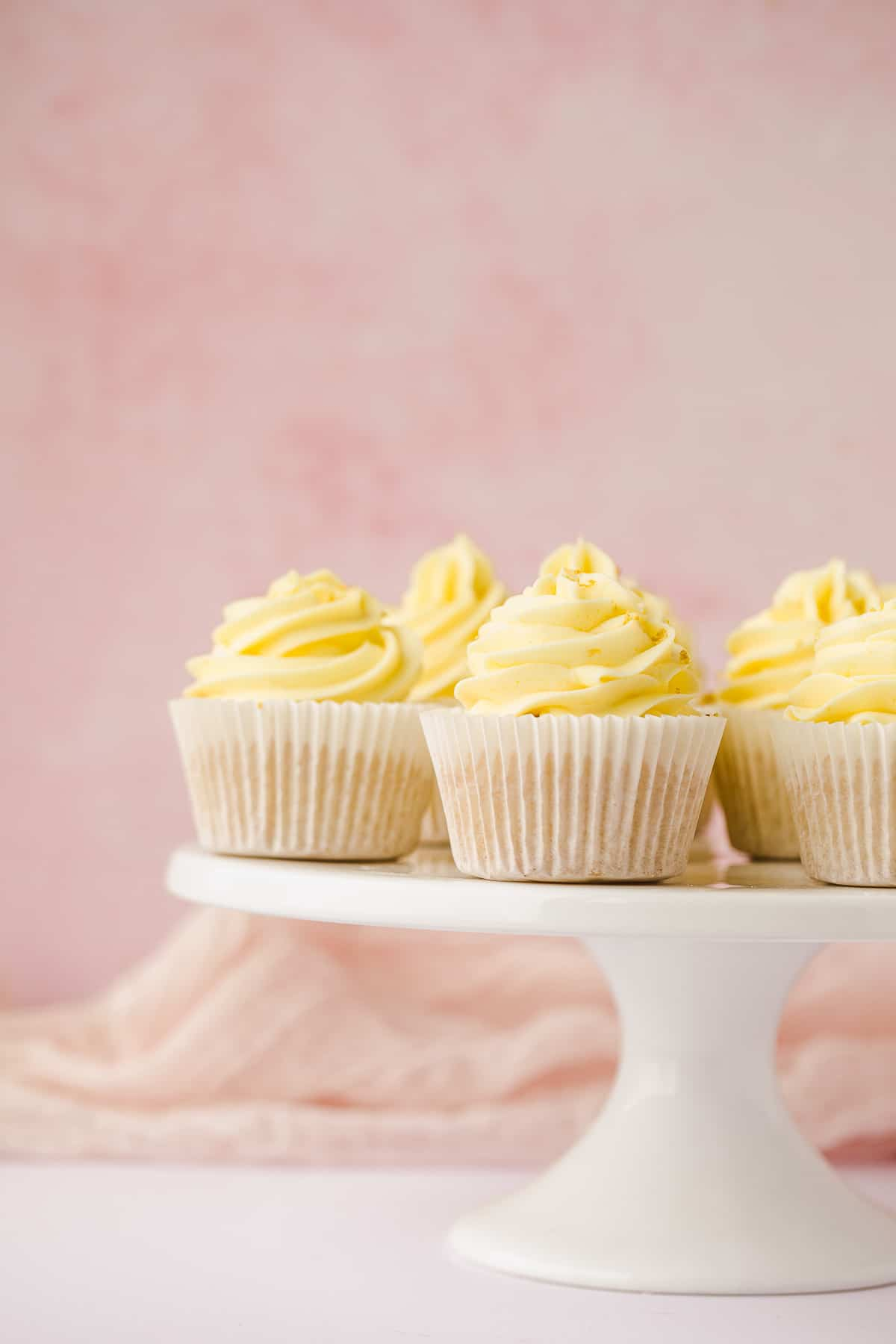 Lemon drizzle cupcakes topped with a lemon flavoured buttercream.