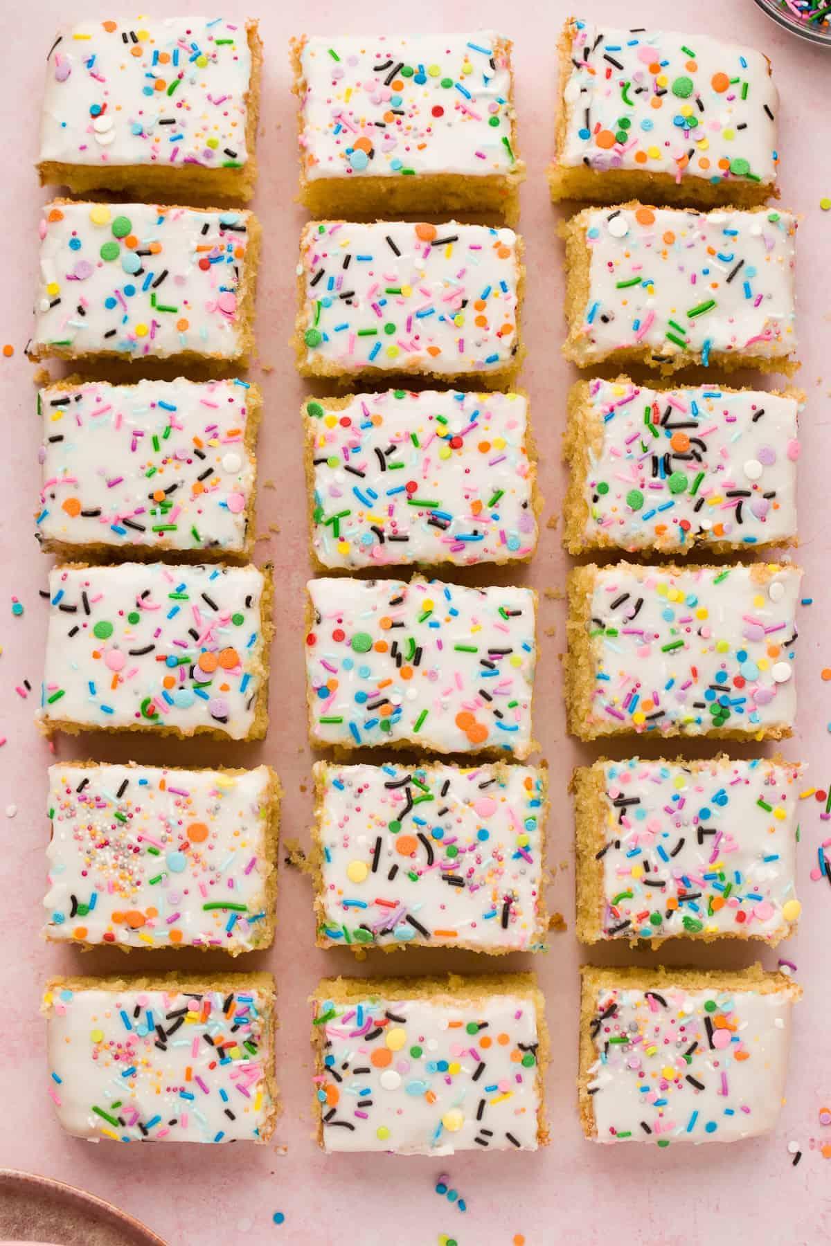 Individual slices of Old School Sprinkle Cake.