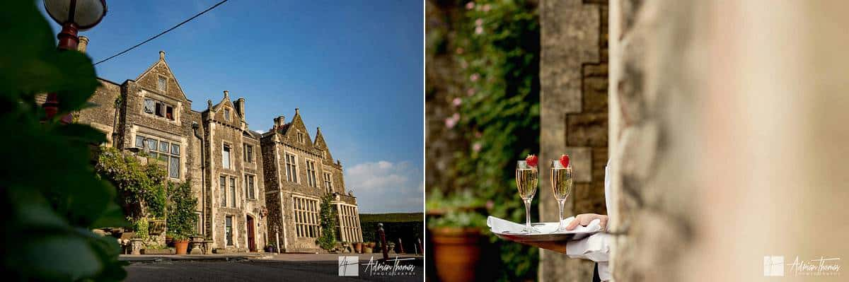 Image of Miskin Manor and champagne.