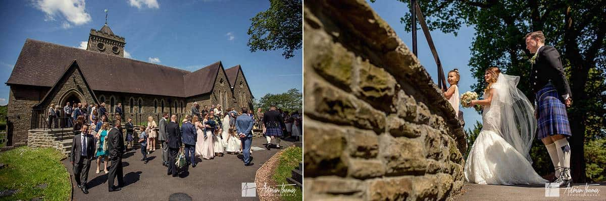 Guests outside Ystrad Mynach Church