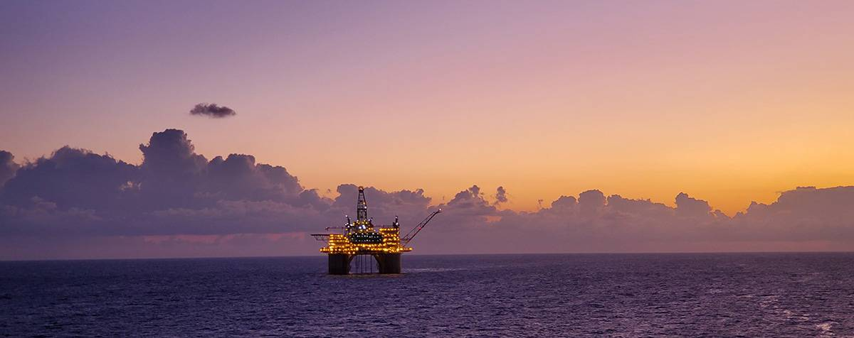 Offshore Rig at Sunset