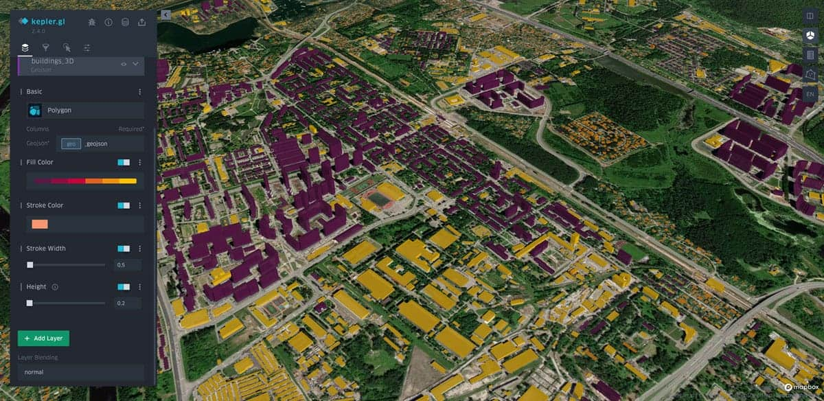 3D building visualisation using Kepler.gl. Image: GeoAlert.