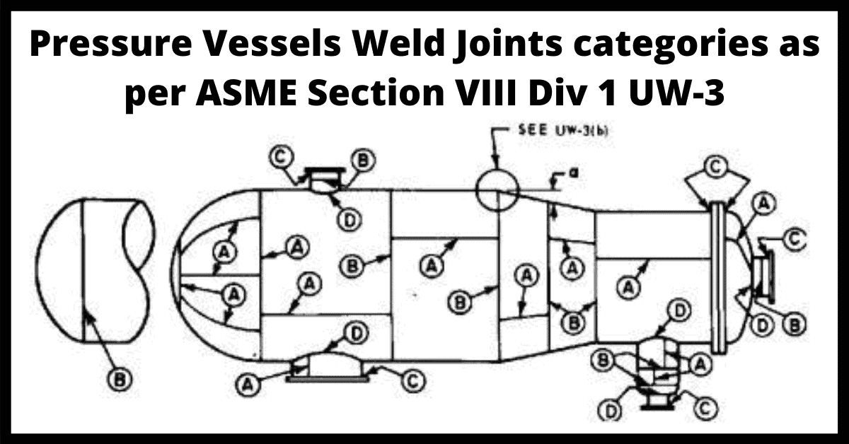 Pressure Vessel Weld Joint Category as per ASME Section VIII Div 1 UW-3