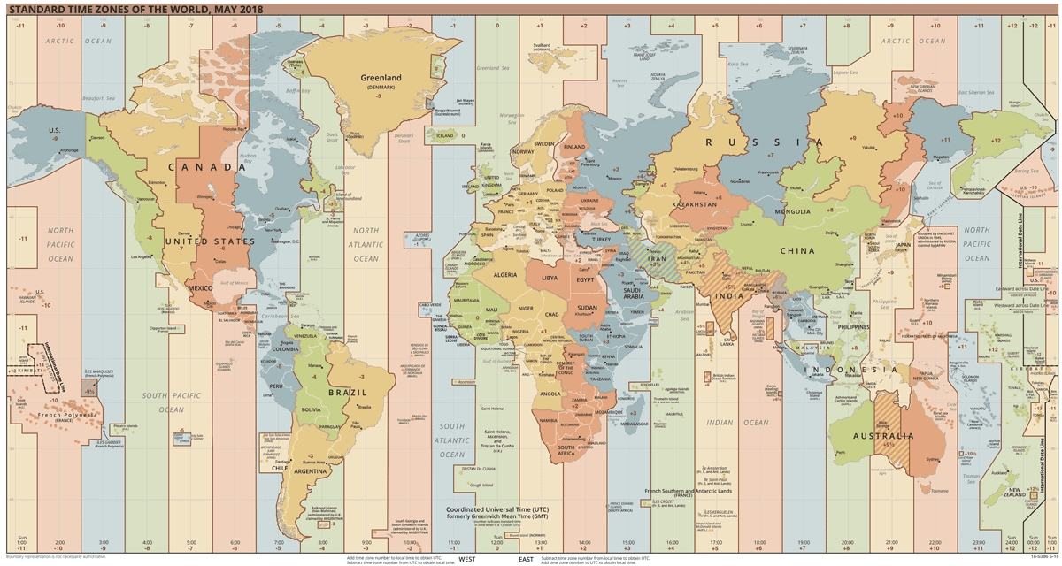 Map showing the standard time zones for the entire world. PDF with a higher resolution. Map: CIA, 2018, public domain.