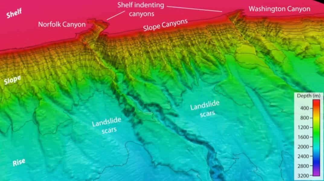 Canyons along the continental margin offshore of Virginia. Map: USGS.