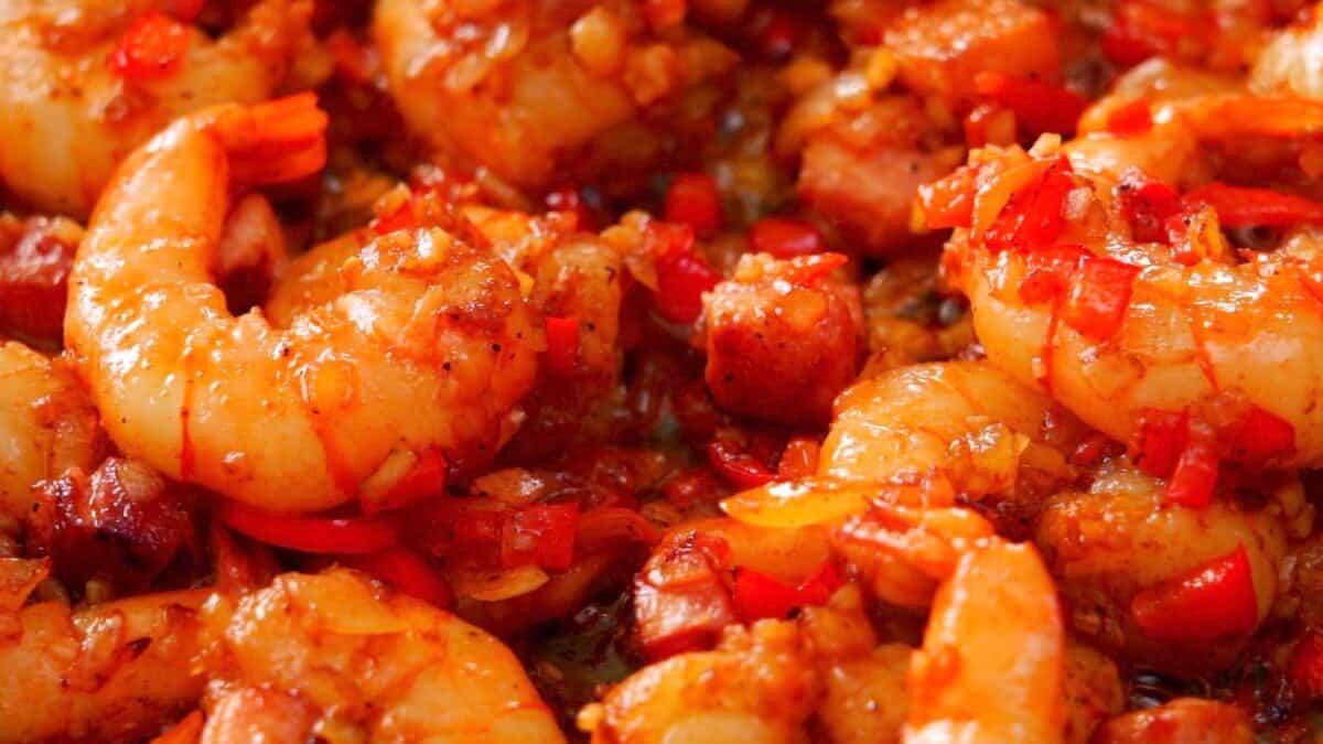 Smoky Cajun-style shrimp.