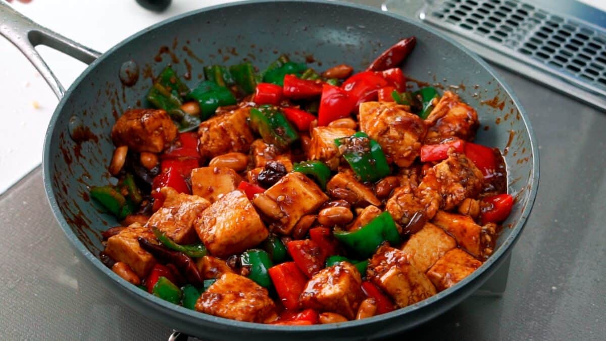 Kung Pao Tofu in a frying pan.