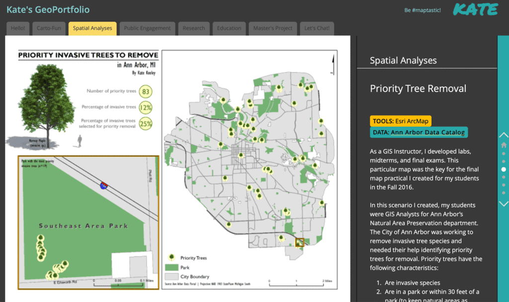 Presenting your GIS experience visually is a way to show employers the breadth of geospatial experience. Screenshot from Kate Berg's online GeoPortfolio which highlights her experience and the types of software and tools she has used. Screenshot captured 2021-Feb-10.