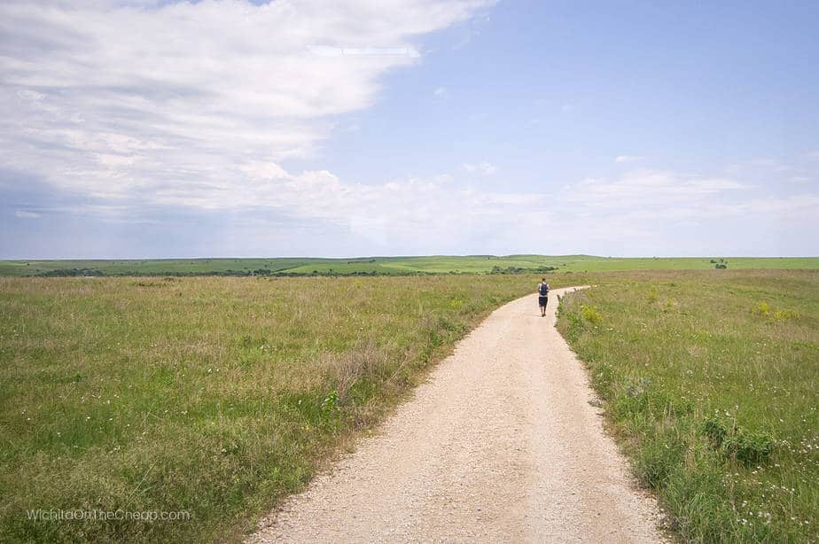 A hiker on the trails at Tallgrass Prairie National Preserve in Kansas