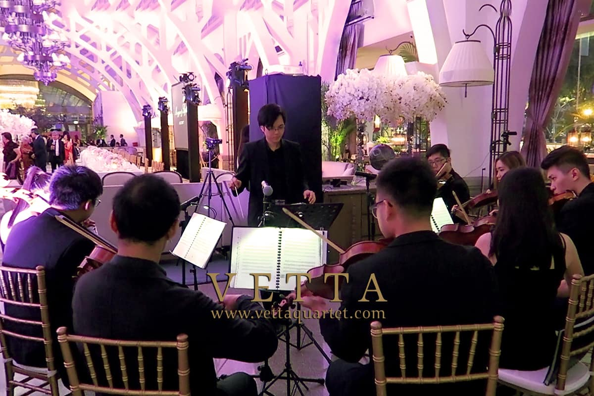 String Ensemble Musicians performing live for Wedding banquet at Fullerton Bay Hotel Clifford Pier Singapore