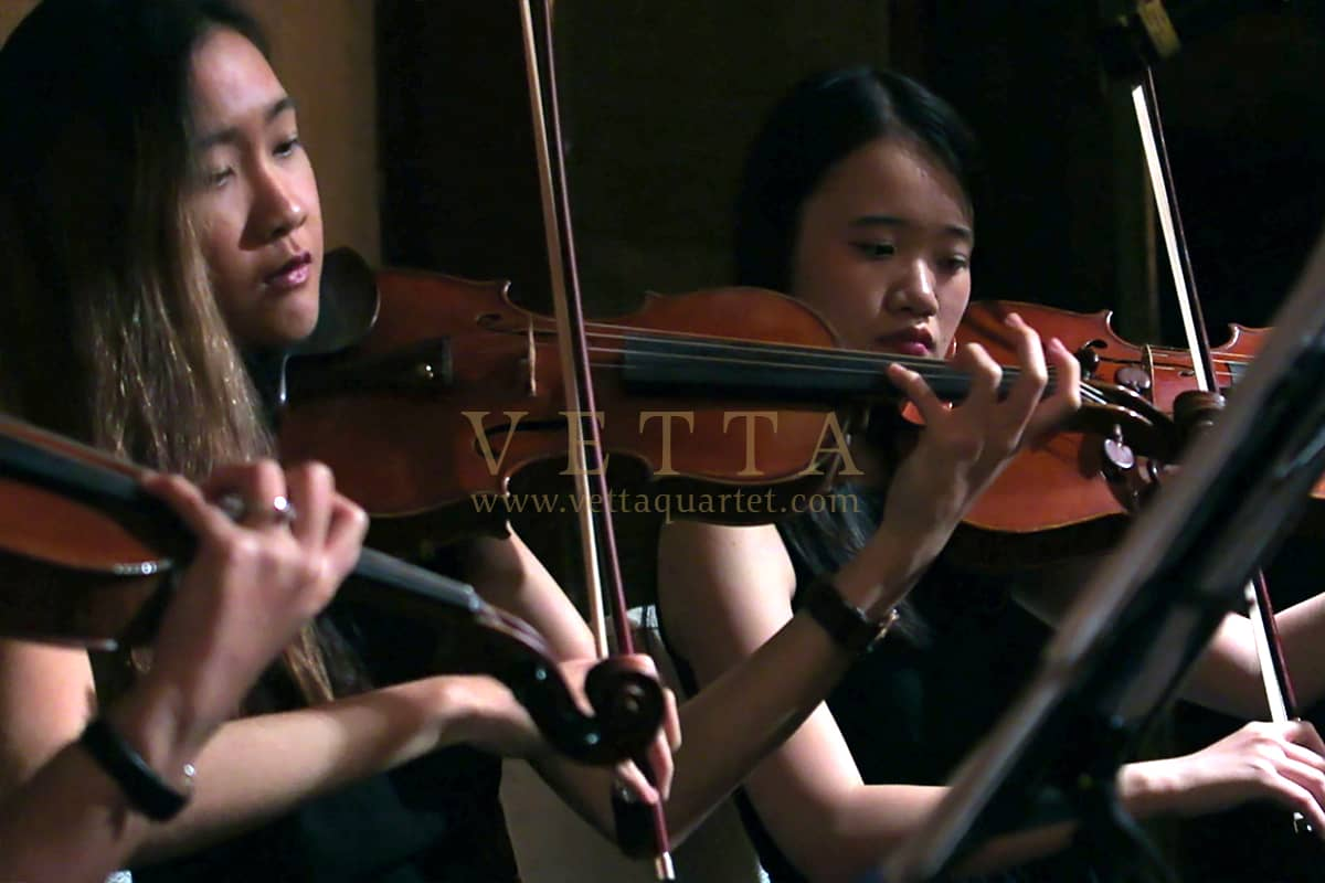 Female String Quartet playing for graceful wedding at Shangri La Singapore