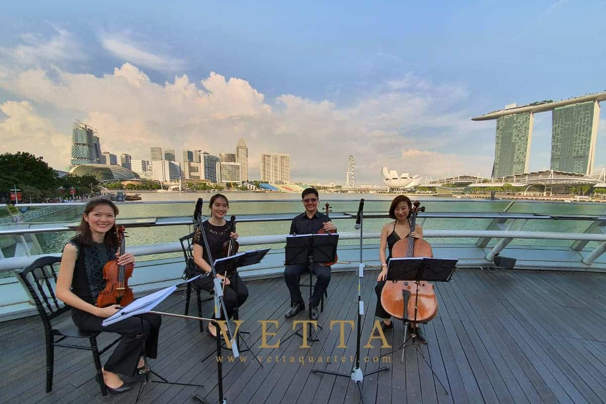 Vetta String Quartet Singapore played for Shirley's wedding at Monti Rooftop