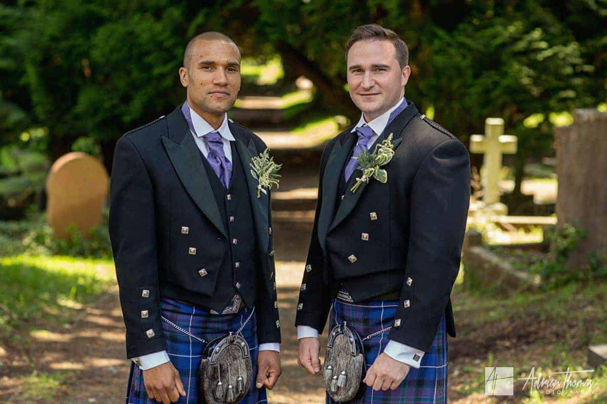 Image of groom and best man at Ystrad Mynach Church