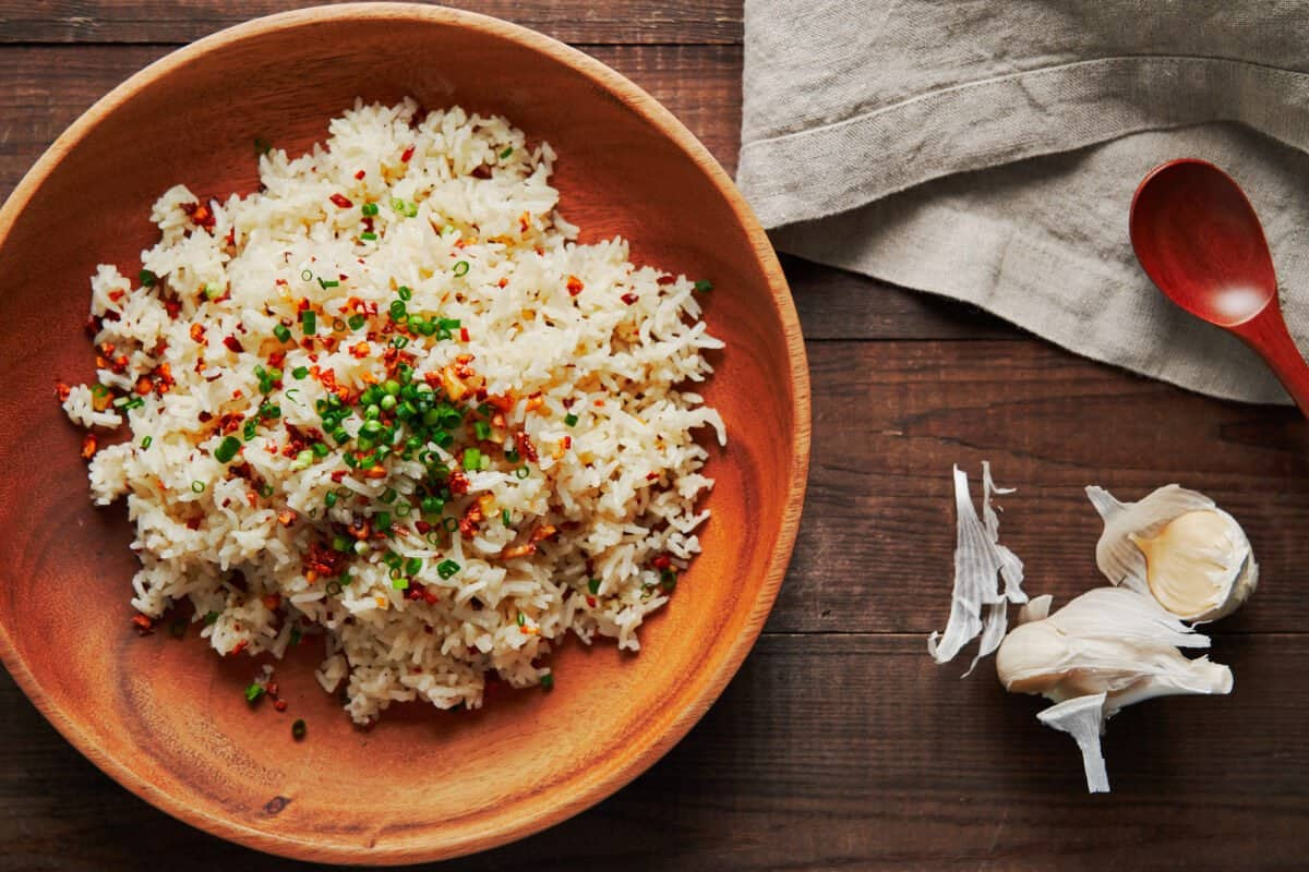 Filipino garlic fried rice topped with extra crisp garlic and scallions.