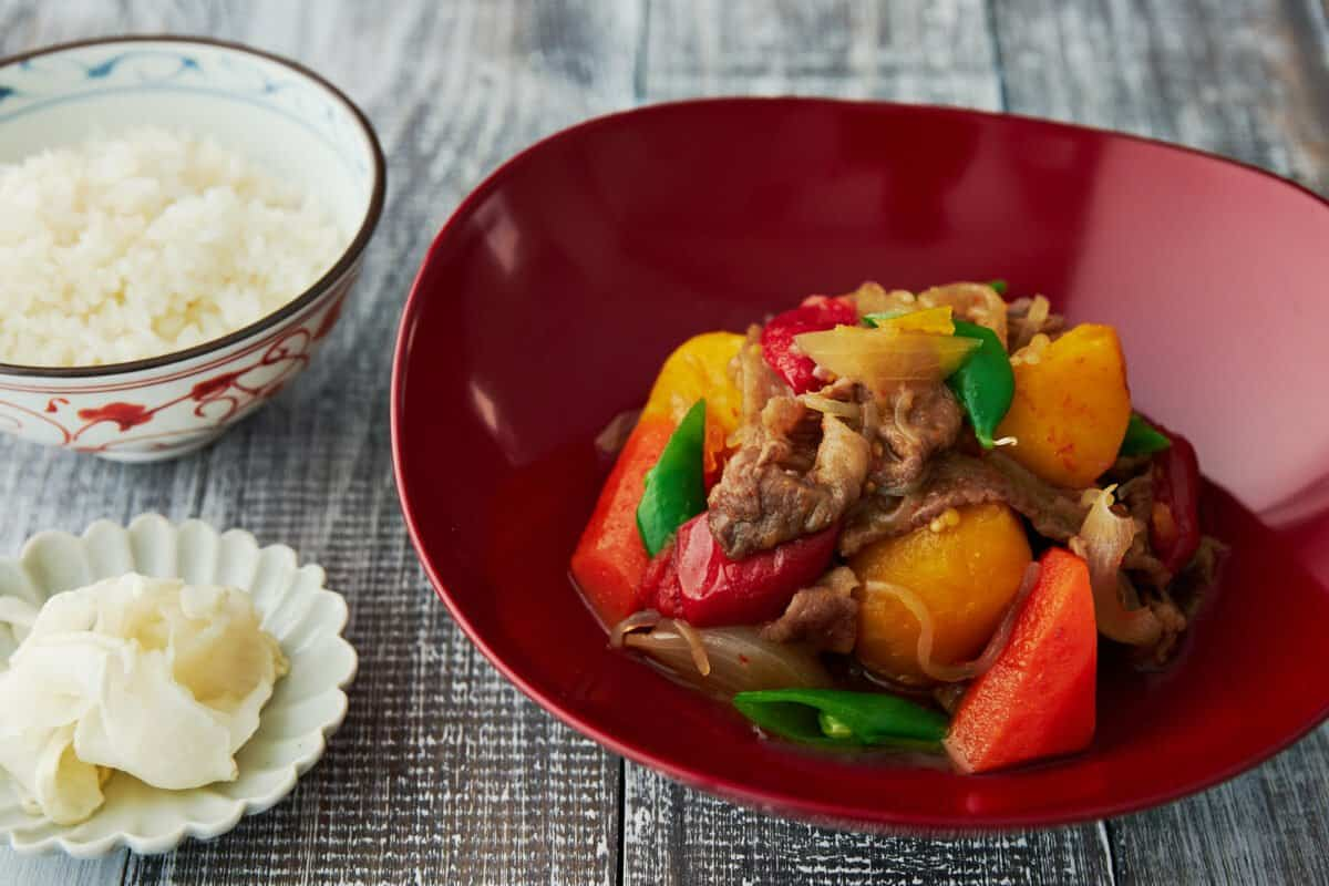 """With thinly sliced beef cooked together with potatoes and carrots, Nikujaga (literally """"meat and potatoes"""") is an easy Japanese Stew comes together in under 30 minutes."""